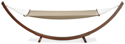 Boogvormige Hangmat XXL met houten frame en afneembaar doek
