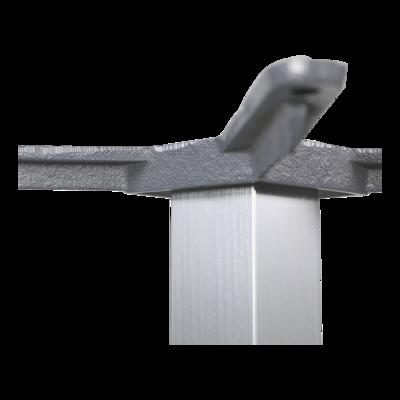 Tafelonderstel aluminium rvs look met vierkante voet