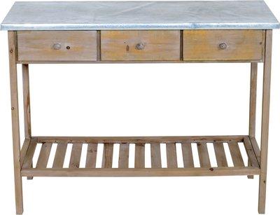 Sidetable hout bruin met 3 lades 100x43cm