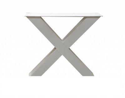 Witte Stalen X-Poot tafel met eiken blad