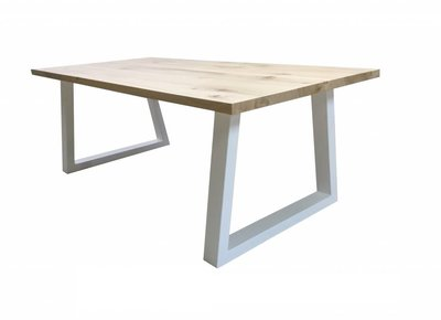 Witte Stalen Trapezepoot tafel met eiken blad