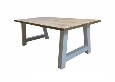 Witte Stalen A-poot tafel met eiken blad
