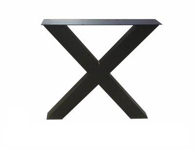 Zwarte Stalen X-Poot tafel met eiken blad