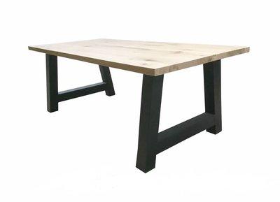 Zwarte Stalen A-poot tafel met eiken blad