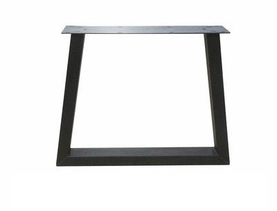 Transparante Stalen Trapezepoot tafel met eiken blad