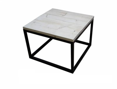 Steigerhouten salontafel 60x60cm transparant