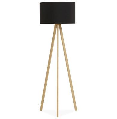 Vloerlamp TRIVET Zwart/Hout