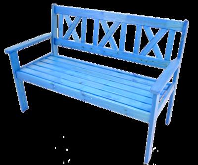 Bank grenen blauw 129 cm