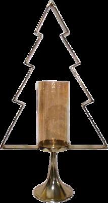 Kerstboom Aurum met windlicht alu goud met goud glas 89cm