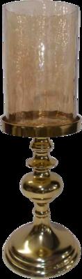Kaarsenstandaard Aurum alu goud met goud glas 15x43cm