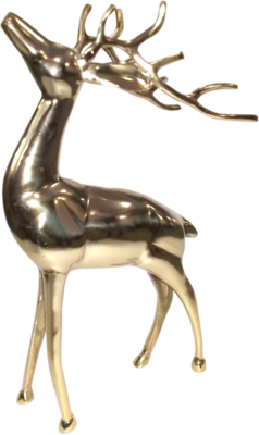 Figuur staand Hert alu goud 30x15x48cm