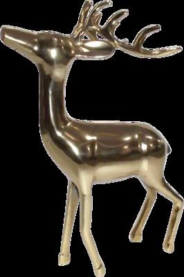 Figuur staand Hert alu goud 28x13x41cm